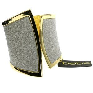 Gold sparkle cuff hinged glittery bracelet